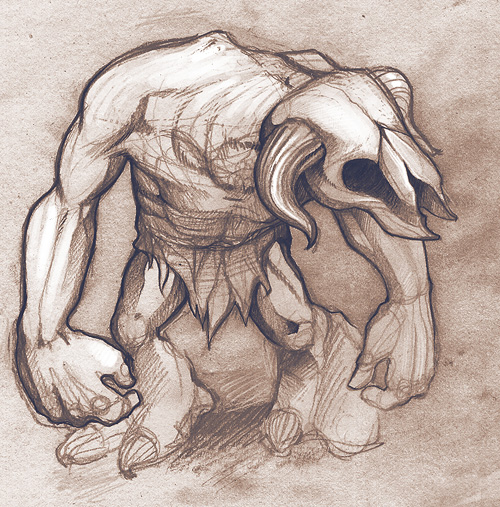 Idle Creations Minotaur enemy sketch